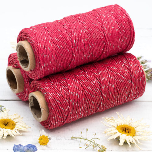 Red  Bakers Twine, 1mm,  205 feet, 4ply, Metallic Twine, Hemp Twine, Hemp Bakers Twine, Christmas -T64