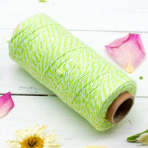 Spring Green Bakers twine, Green and White, 1mm, 410 Feet, Cotton Bakers Twine - BT1