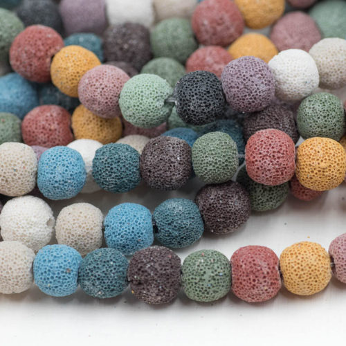 10mm  Lava Rock Beads,   15 inch  Strand,  Lava beads, Mixed Colors -B1008