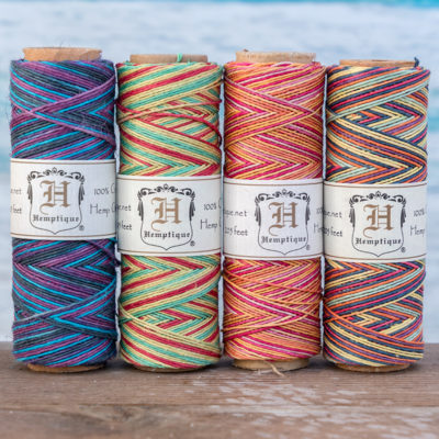 rainbow hemp cord, .5mm macrame cord