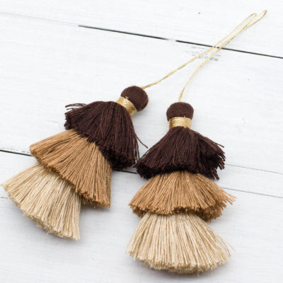 Brown Triple Layer  Tassels, 2pcs, 3 Inch, Gold Loop,  Brown Tassels