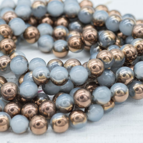 Copper Plated Glass Beads, 10mm Round beads,   30 inch Strand -B111