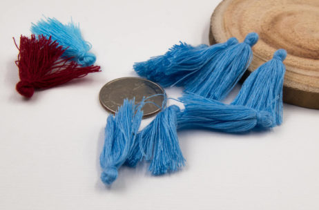 Cotton Jewelry Tassels, 30pcs,   1-11/4 Inch, Mini   Tassels, Blue
