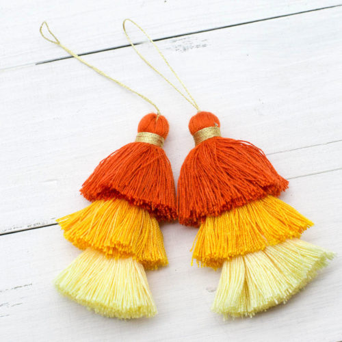 Cotton Tassels, 2pcs, 3 Inch, Gold Loop,  Triple Layer Tassels, Orange and Yellow