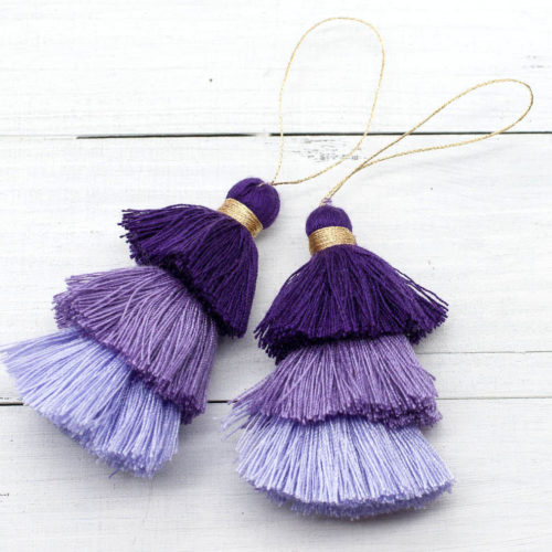 Cotton Tassels, 2pcs,  3 Inch, Gold Loop,  Triple Layer Tassels, Tassel Pendant