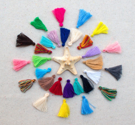Cotton Tassels, 30pcs, Mixed Color Lot, 1-11/4 Inch, Mini Jewelry Tassels
