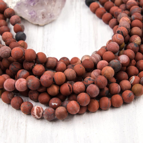 Frosted Red Jasper Beads, 8mm,  15 Inch Strand, 35pcs, 1mm Hole -B833