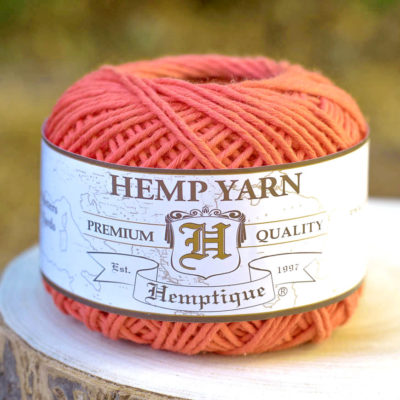 Hemp Cotton Yarn, Orange Yarn, Natural  Yarn, Knitting Wool, Hemp Fiber