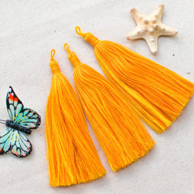 Jewelry Tassel, 3pcs, Orange and Yellow, 4 3/4 inch, Jewelry Tassels, Craft Tassel - CS43