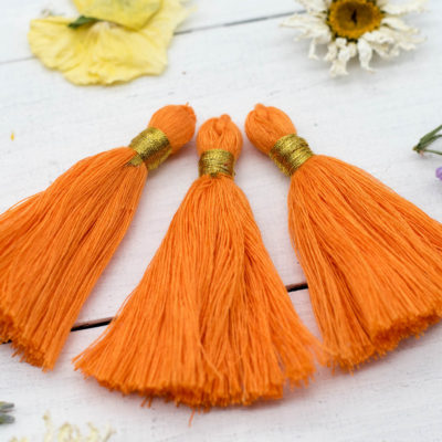 Jewelry Tassels,   2.5 inch,  3pcs,  Cotton Tassel, Orange Tassels