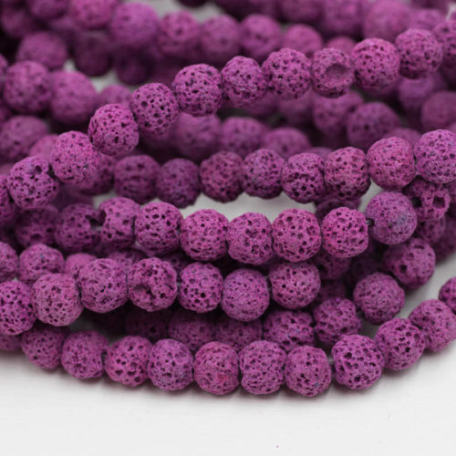 Lava Rock Beads,  8mm, 15 inch  Strand,  Natural Beads, Violet