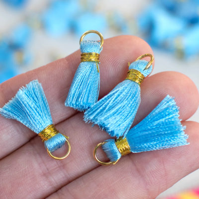 Light Blue Tassels,   Gold Ring, 10pcs, 3/4 inch,  Mini  Tassels, Silk Tassel -TA25