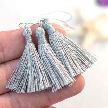 Light Grey Tassels, 5pcs,  40mm Long, 2 1/4 Inch Loop, Nylon Jewelry Tassels -TA25