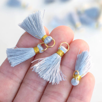 Light Grey Tassels,   Gold Ring, 10pcs, 3/4 inch,   Jewelry Tassels Mini  -TA25