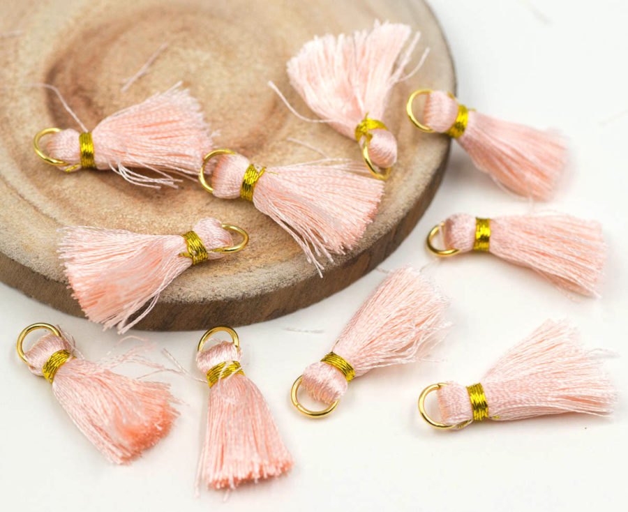 Light Peach Tassels,   Gold Ring, 10pcs, 3/4 inch,   Jewelry Tassels -TA25