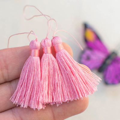 Light Pink Jewelry Tassel, 5pcs,  40mm Long, 2 1/4 Inch Loop, Nylon Tassels -TA25