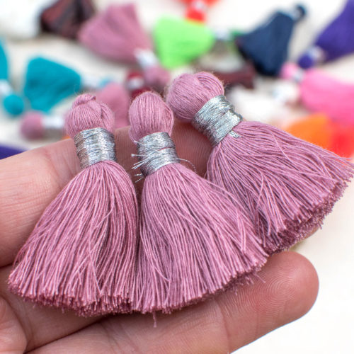 Light Purple Tassels, 1.5 inch, 5pcs,  Cotton  Tassels, Short Tassels, Bracelet Tassels -TA4