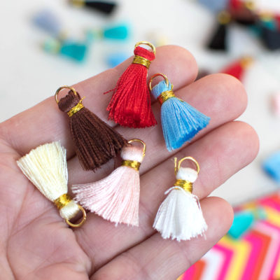 Mini Tassels, Silk Tassels,   Gold Ring, 10pcs, 3/4 inch,  Mixed Colors -TA25