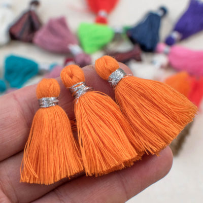 Orange Cotton Tassels, 1.5 inch, 5pcs,  Jewelry Tassels, Short Tassels, Boho Tassels -TA4