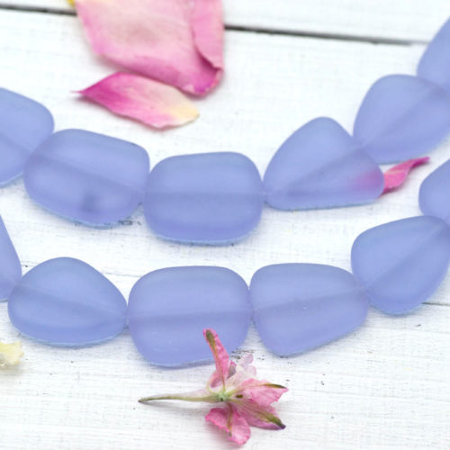 Recycled Glass Beads, Light Purple, Glass Beads,  9pc Strand,    20x23mm, Necklace Beads -B113