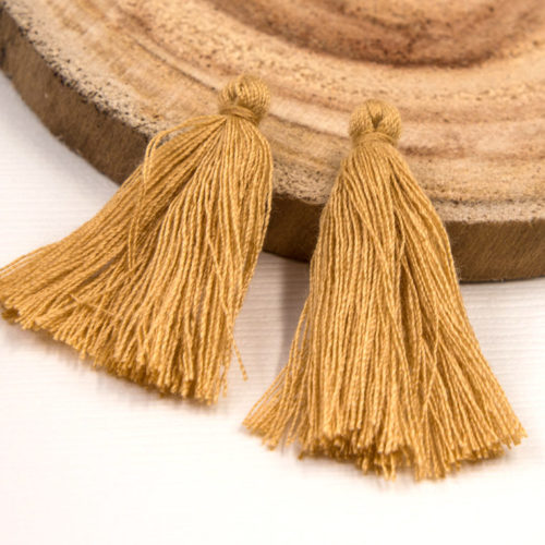 Short Cotton  Tassels, 30pcs,   1-11/4 Inch, Jewelry  Tassels, Camel Brown