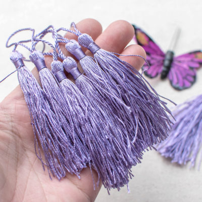 Silk  Tassels, 10pcs, 3 1/4 inch,   Silky Tassels,  Purple Jewelry Tassel - CS33