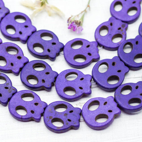 Skull Beads, Purple Beads, 20mm, 19 Pcs, Howlite Skull Beads, Skull -B211