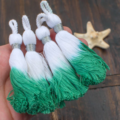 Spring Green Cotton Tassels, 4pcs, 3 inch, Dipped White Tassels,   Silver Binding  -CS576