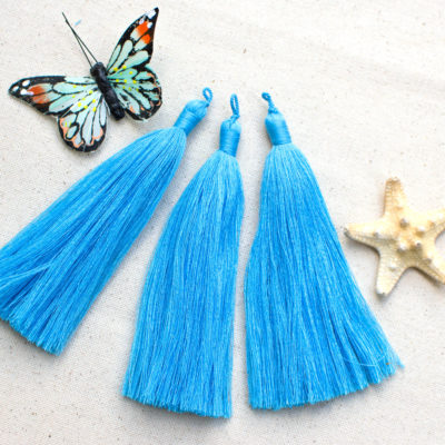 Tassels For Jewelry,  5 inch  Tassels, 3pcs,  Mala Tassels, Light Blue Tassel  - CS564