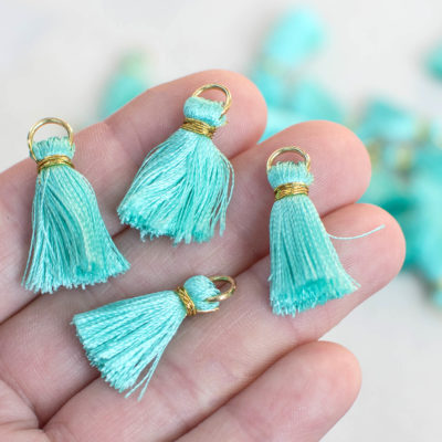 Teal Tassels,   Gold Ring, 10pcs, 3/4 inch,   Jewelry Tassels-TA25