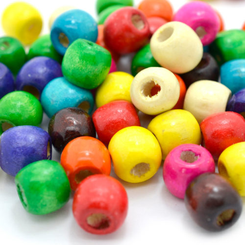 Wood Barrel Beads,  60 pcs, 12x11mm, 3mm Hole,  Wooden  Beads, Mixed Color -B488