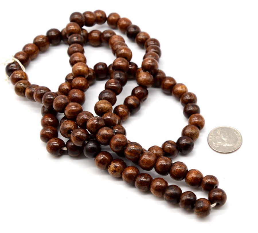 12mm Round Wood Beads,   100pc, Brown  Beads, 3-5mm Hole -B845