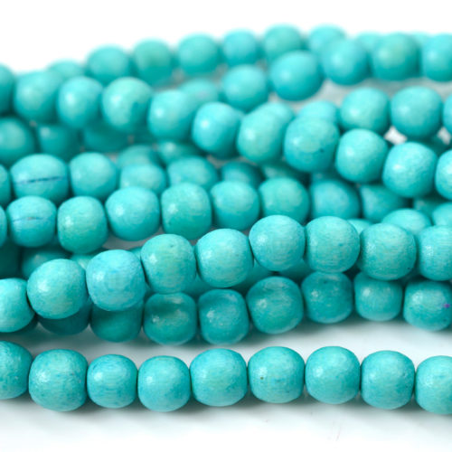 6mm Round   Wood  Beads, Dyed Wood Beads,   1mm Hole,   70 pc  Strand, Turquoise -B530