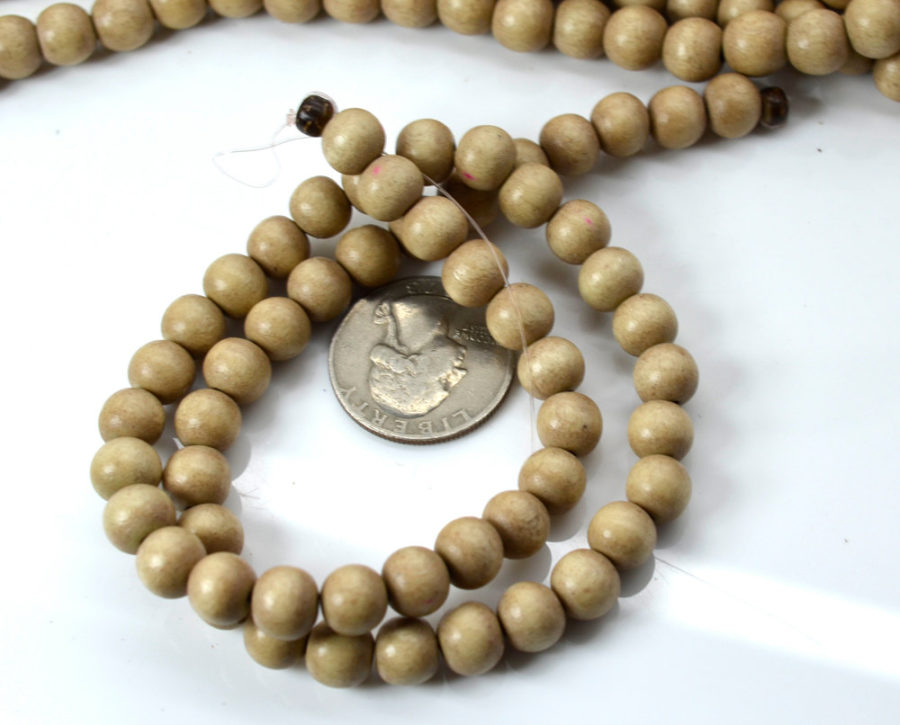 6mm Round   Wood  Beads, Natural  1mm Hole,   70 pc  Strand, Natural Wood -B489