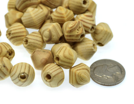 Bicone Wood  Beads, 15x15mm, Light Tan Color, 50pcs,  Wooden Beads -B744