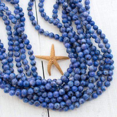 Blue Sesame  Beads, 6mm, 15 Inch Strand, 62pcs,  Gemstone Beads -P994