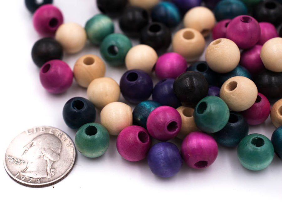 Colored Wood Beads,  12mm, 120pcs, Mixed Colors -B497