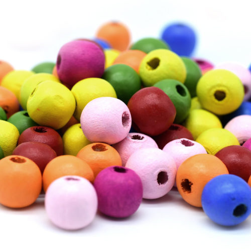 Colored Wood  Beads, 50pcs,  16x12mm, Wood Beads,  Painted,  4mm Hole -B756