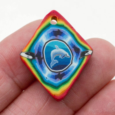 Dolphin Pendant, 1pc, 25mm, Vintage Pendants, Polymer Clay