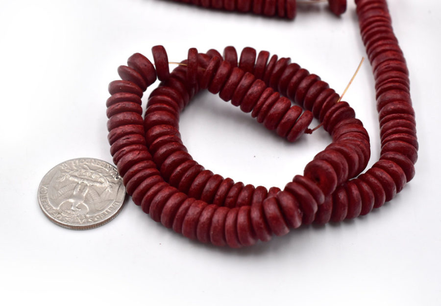 Dyed Red Wood Beads,  2x  15 inch Strands, 10mm, Red Disc Beads -C645
