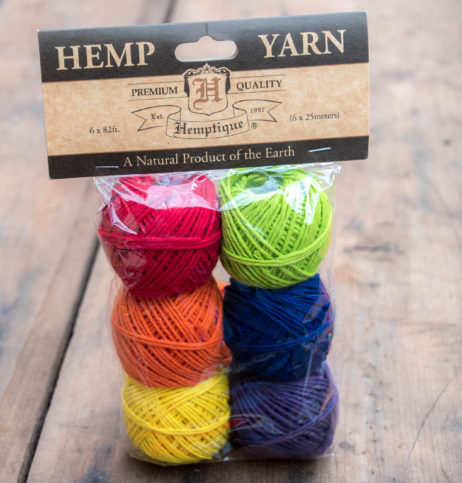 Hemp Yarn, 6 Mini Balls, 82 feet, Hemp Wool, Dyed Hemp Yarn, Knitting