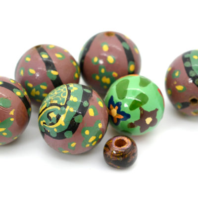 Large Painted Wooden  Beads, 7pcs, Mixed Size, Macrame Beads,  Indian Wood  Beads -B448