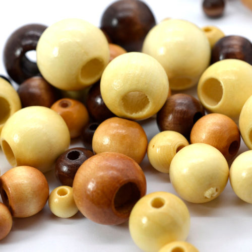 Large Wooden Beads, Mixed Size, 7 OZ Bag, Large Hole Beads, Round Wooden Beads,   Wood Beads -B507