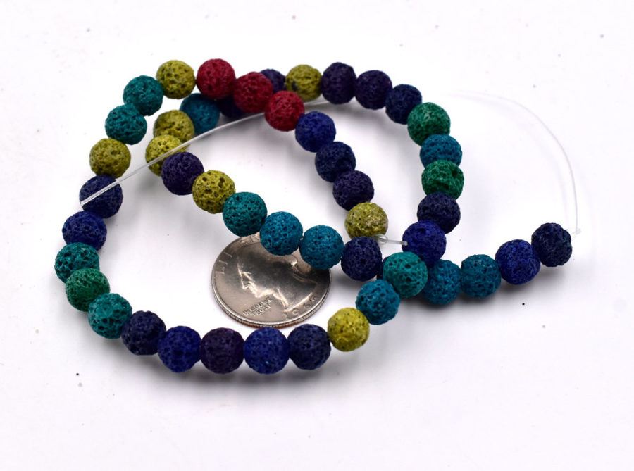 Lava Rock Beads,  8mm, 15 inch  Strand,  Natural Beads, Mixed Colors -C629