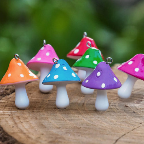 Mushroom Pendants,  Resin, Mushroom, Mixed Colors,  30x25mm,  Silver Tone, Plastic Pendants -P388