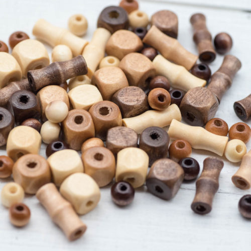 Natural Wood Beads, 78pcs, Mixed Sizes, Wooden Beads, Brown Wood Beads -B62