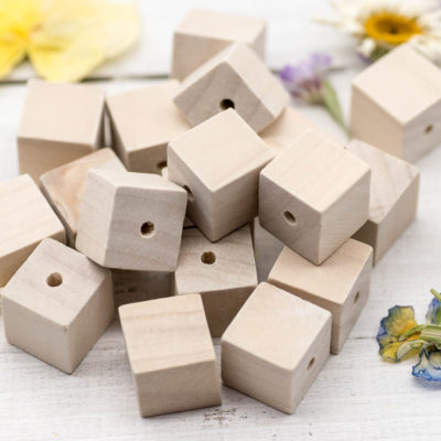 Natural Wood Cube Beads, 40pcs, 15x15mm,  Wood Beads, 2mm Hole -B1014