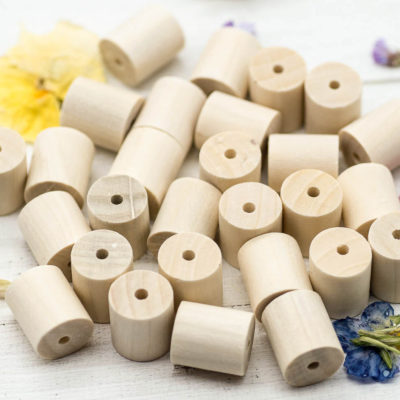 Natural Wood Tube Beads, 40pcs, 17x14mm,  Wood Beads, 2mm Hole -B1017
