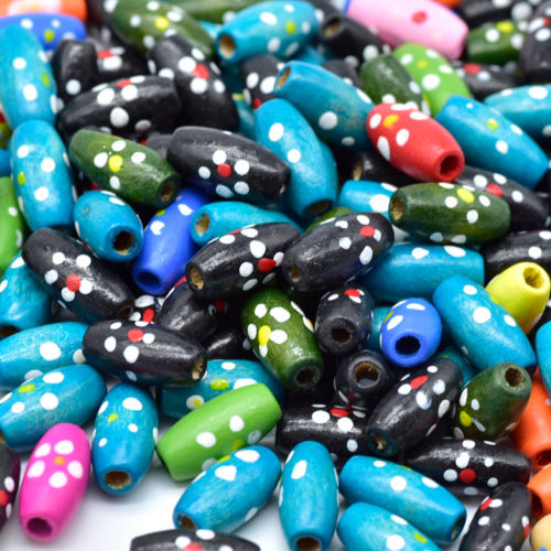 Oval Painted Wood Beads, 15x8mm, 2mm Hole, 150pcs,  Flower Pattern, Mixed Colors -C643