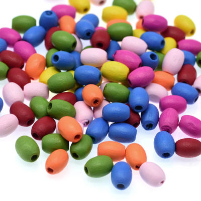 Oval Wood  Beads,  200 pcs, 10x8mm, 2mm Hole,  Painted  Wood Beads -B713